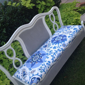 French Bench Suzani Fabric Painted White Gray by HarrisMarksHome