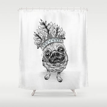 Indian Pug Shower Curtain by LouJah
