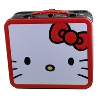 Hello Kitty White Face W/Red Bow Metal Lunch Box