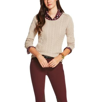 Ariat Ladies Supimo Cable Knit Sweater - Oatmeal Heather