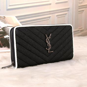 """Yves Saint Laurent YSL"" Women Purse Personality Multicolor Zip Long Section Multifunction Wallet Handbag"