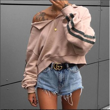 Komsomlsk V343 Bella Hadid Style Novelty irregular ripped women Hoodies Sweatshirt Sexy Female Cropped Punk top