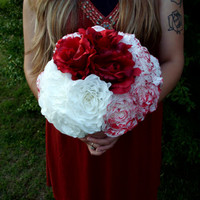 Queen of Hearts bridal bouquet Alice in Wonderland inspired alternative bridal bouquet bridal accessories paper flower bouquet