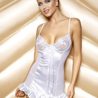 White Mesh Accent Ruffled Satin Lingerie