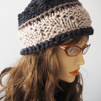 Chunky beige knit hat / Charcoal crochet pillbox /  Dark grey handmade cap / Light brown toque / Heather gray beanie / Teen girl beret