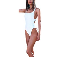 Women's Sexy One Piece High Cut Backless Bikinis Bathing Suits Swimsuits