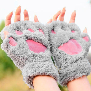 Lovely Women Cat Claw Paw Mitten Plush Glove Costume Gift Winter & Best Cat Paws Gloves Products on Wanelo