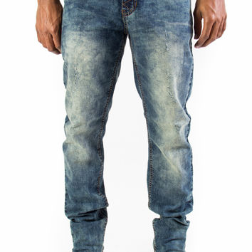 Distressed Dark Acid Wash Tapered Fit Stretched Denim  Jeans