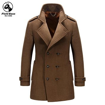 New Arrival Autumn Spring Wool Jackets Men Casual Jackets Long Style Casual Wool & Blends Outerwear Pea Coats Male LM-1513