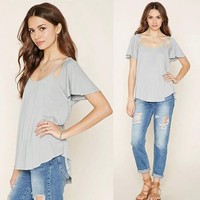 Summer Cosy Loose Cotton T-Shirts Blouses A4