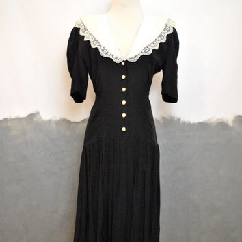 80s/90s Wednesday Addams Mini Dress/ Lace Bib Peter Pan Collar/ Drop Waist/ Grunge Boho