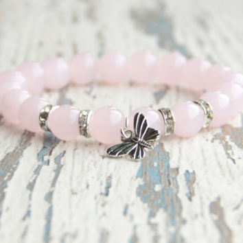 Butterfly bracelet Pink bracelet Beaded bracelet Girls bracelet Gift idea Girlfriend Summer jewelry Rose quartz Love Bracelet gemstone Women