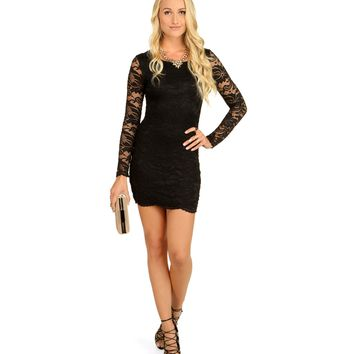 Black Good Time Lace Dress