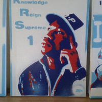Krs One stencil art painting on canvas, spray can art,hip hop,rap,oldskool,boogie down productions,new york city,rapper,80s,pop,red,blues