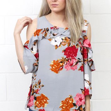Cold Shoulder Ruffle Floral Blouse {Cool Grey Mix}