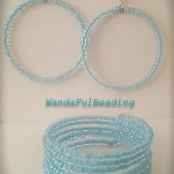 Czech Clear w/Blue Medal Lining Memory Wire Bracelet and Earring Set