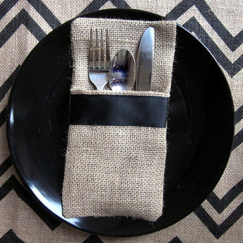 Burlap Silverware Holder with Black Accent, Flatware Holder, Silverware Pocket, Utensil pocket, Jute, Cottage Chic, Place setting