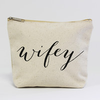 Wifey Zippered Canvas Pouch