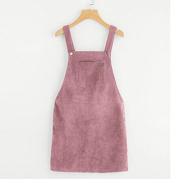 Spring Women Casual Sleeveless Pocket Retro Corduroy Dress Female Vintage Party Dress Loose Suspender Sundress