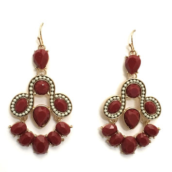 Molly Chandelier Earrings In Wine