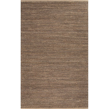 Naturals Stripes Pattern Taupe/Black Jute and Rayon Area Rug (3.6x5.6)