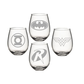 D.C Super Hero Wine Glass Set, Wonder Women Green Lantern Bat Man Robin Wine Glass, Etched Wine Glass - Super Hero Wine Glass