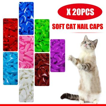20Pcs Soft Cat Nail Caps Pet Paw Claws Nail Grooming Protector Cover With Free Adhesive Glue+ Applicator XS S M L