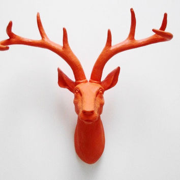 Tandoori, Orange, Deer Head, Stag, Antlers, Faux Deer Head, Faux Taxidermy, Animal Heads