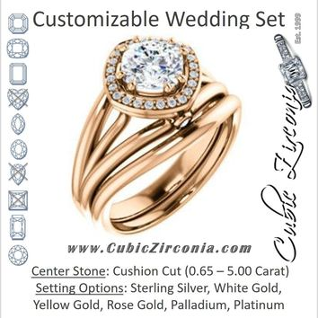 CZ Wedding Set, featuring The Wanda Lea engagement ring (Customizable Cushion Cut Halo-style with Ultrawide Tri-split Band & Peekaboo Accents)