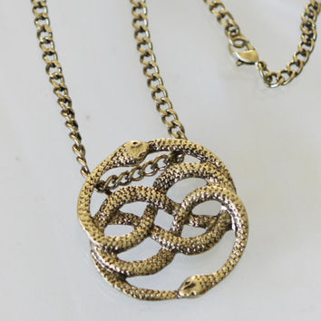 The Neverending Story Inspired Antique bronze Snake Pendant  Snake Circle  necklace Auryn  Double Snake jewelry jewellery