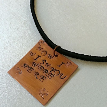 "Pink Floyd - ""How I Wish You Were Here"" - Hand Stamped Necklace - Leather Jewelry - Key Chain"