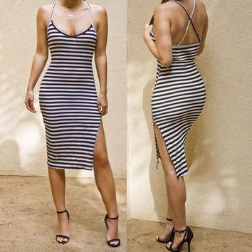 HOT CROSS STRIPE CUTE DRESS SHOW BODY FORK DRESS