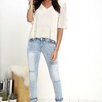 Dancing Doll Ivory Beaded Top