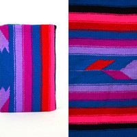"""southwestern VIBRANT violet & neon pink striped HANDWOVEN native american RUG, 63"""" x 31"""""""