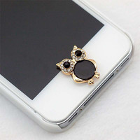1pcs Useful 3D Owl Shape Diamond Crystal Phone Sticker Home Button Sticker For iPhone 4/5/5s/6