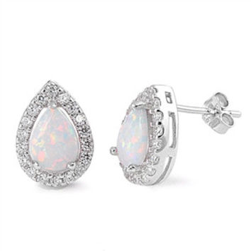 Sterling Silver CZ Simulated Diamond and Simulated White Opal 13MM Teardrop Halo Earrings