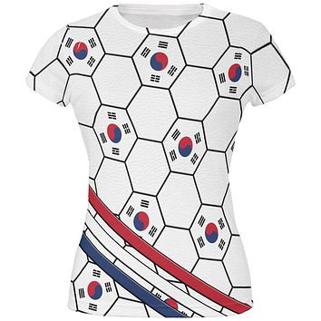 World Cup South Korea Soccer Ball All Over Juniors T Shirt