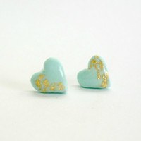Mint heart stud earrings- Polymer clay and resi jewelry- Everyday, elegant earrings