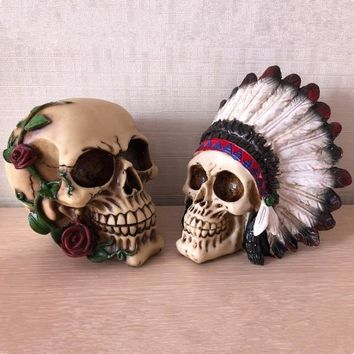 Skull Skulls Halloween Fall Halloween Resin Craft Statues For Decoration Indian Style  Creative  Figurines Sculpture Home Decoration Accessories Calavera
