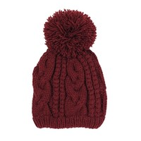 West Coast Wardrobe Prep School Cable Knit Beanie with Pom Pom In Oxblood