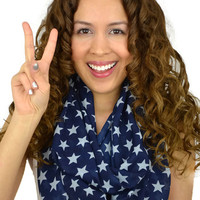 Stars Infinity Scarf USA Scarf Navy Blue Scarves White Star Scarves Flag Scarf Women Scarves Light weight Scarves Stars Patriotic Scarf Cute
