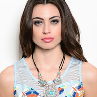 * BURNISH SILVER TURQUOISE MEDALLION NECKLACE