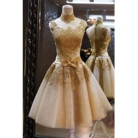 High Neck Short Yellow Gold Appliques Lace Prom Dresses With Bow Tulle Party Dress Vestidos De Noche
