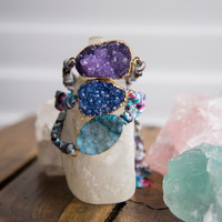 DRUZY FRIENDSHIP BRACELET - Agate Druzy Druzie Statement Gemstone Boho Chic Gypset Style Trendy Bohemian Jewelry - Charlie Girl Gems