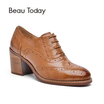 BeauToday Oxfords for Women Pump Genuine Cow Leather Fashion Lace-Up Shoes Round Toe Ladies High Heel Pumps Handmade 16201