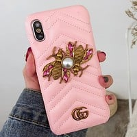GUCCI PEARL BEE Luxury brand honeybee i8X high-end leathery iphone7/8plus cool popular logo female 6siPhone case.Pink