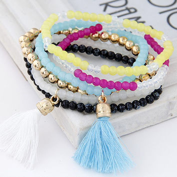 Bohemian Sweet Candy Color Multilayer Beads Tassels Bracelet Bangles