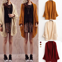 Long Sweaters 2015 Women Fashion Autumn Winter Cardigans Women Sweater Pocket Batwing Sleeve Thick Casual Knitted Cardigan = 1946670020