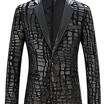 Slim Fit Blazer Men  New Brand Casual Faux Leather Spliced Velvet Suit Fashion Pieces De Men Jacket Suit