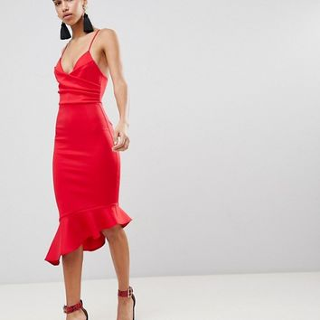 ASOS Scuba Cami Pephem Midi Dress at asos.com